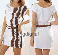 Free Shipping Ladies White Brown Casual Summer Beach Swimwear Bikini Cover Up Shirt With Belt