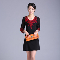 2013 summer formal gentlewomen three quarter sleeve one-piece dress cutout three-dimensional beading embroidered women's dress