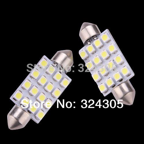 2X 36mm 3528 16 SMD 1210 LED White Car Dome Festoon Interior Light Bulbs Auto Car
