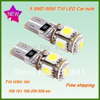 Free shipping retail 10pcs T10 5 Led interior Canbus lamp 194 W5W 168 SMD 5050 LED Wedge Light Bulb White 12V Error car bulbs