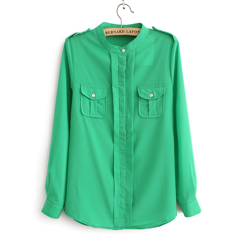 2013 spring candy color slim shirt pocket epaulette long-sleeve chiffon shirt top female(China (Mainland))