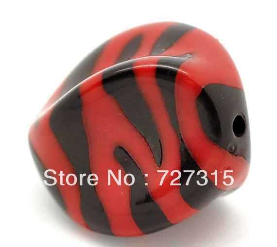 Wholesale- AAA 390cs Red Nugget Acrylic Zebra Printed Beads For Chunky Necklace, Chunky Beads,12*15mm Free shipping!(China (Mainland))