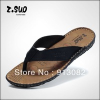 Cow Muscle Leather Rubber Sole Summer Casual Slippers Men Sandals Flip-flops Shoes Durable Genuine Leather 2013 New Freeshipping