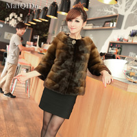 Maiqido2012 women's fur overcoat mink leather coat 0611 free shipping wholesale high quality