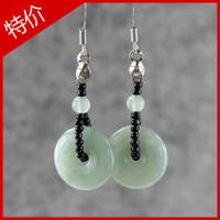 Earring natural aventurine jade peace buckle female vintage national trend earrings drop