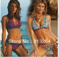 2013 New Sexy Women Bikini Swimwear & Swimsuit Beachwear With Inside Pads Indian Flower Red &Blue Color s  m l Free shipping