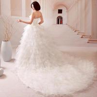 bride wedding dress 2015 wedding formal dress sweet princess tube top wedding dress vintage lotus leaf long tail