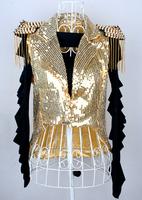 2014 New Arrival Rushed Women Hanfu Lady Gaga Female Singer Jazz Dance Costume Paillette Tassel Vest Tuxedo Blazer Outerwear