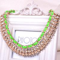 (Min.order  $15  Free Shipping)Fashion punk fluorescence ribbon alloy chain short necklace