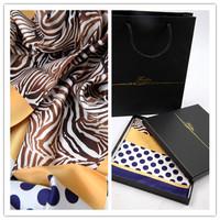 Elegant color matching polka dot zebra print silk slanting stripe large facecloth silk scarf