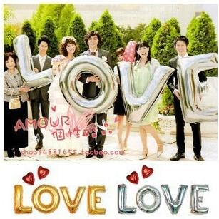 "For Wedding Festival Supply Decoration Mylar Foil Balloon Large Letter ""LOVE"" Full Alphabet Silver Golden Free Shipping PQ0005"