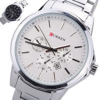 Classic quality CURREN CURREN 8129 Men's Black Stainless Steel Band Round Quartz Dial Wrist Watch w/ Calendar White/ Black Dial