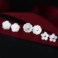 Zzj fresh rose little daisy handmade sculpture natural 925 pure silver stud earring