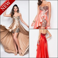 Free Shipping  Attractive Front Short and Long Back Satin High Low Prom Dresses 2013 With Crystals Sequined (MD191)