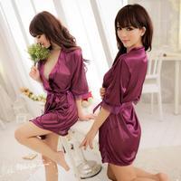 Spring Summer Female Sexy Sleepwear Translucent Faux Silk Robe Bathrobe Nightgown Temptation Lace Sexy Kimono Uniform Sleepwear