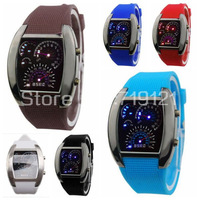 Promotion 1pc/lot Blue & White Flash LED Fashion Rubber Belt Gift Sports Car Meter Dial Men Watch 750187