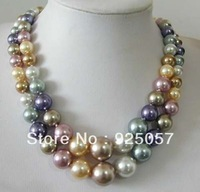 2 Row 8-14mm South Sea Multicolor shell pearl necklace Fashion jewelry