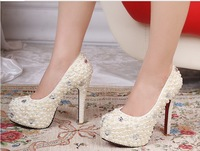 Free shipping 2013 new white pearl diamond women's high heel shoes Luxury wedding shoes ladies brand shoes 34-41 11cm /14cm heel