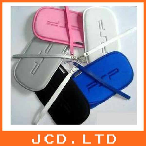 20pcs Multi color Soft Pouch Case Cover Bag + Hand Strap For Sony PSP black white pink blue gray(China (Mainland))