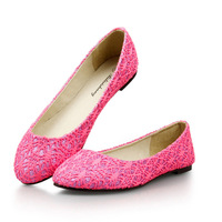 2013 flat shoes round toe flat heel single shoes lace princess shoes big size women's shoes