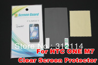 20pcs New CLEAR Skin LCD Screen Protector Cover Film For HTC one M7 With Retail Package Free Shipping