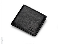 New fashion men's short leather wallet genuine cross-section multi- card bit slim leather wallet free shipping