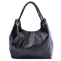 LUCKY ORANGE Handbag Woven Leather Hobo Black Brown Shoulder Bag Satchel Women + Purse Wholesales Fashion Hot Sale 2013