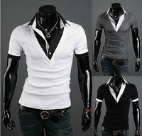 new men's  fashion best quality collar t shirt  5957