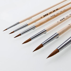 6pcs Artist Watercolor Liner Drawing Wooden Paint Brush 2 4 6 8 10 12(China (Mainland))