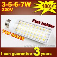 Free shipping BOPO Ultra bright flat lamp holder LED bulb 7W E27 LED corn lamp with SMD 180 degree Spot light affordable plastic