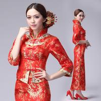 Chinese style wedding dress formal dress 2013 cheongsam married xiao fengxian dragon gown evening dress vintage cheongsam