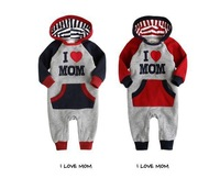 Baby romper with cap/Long sleeves baby romper /I Love Papa Mama style wholesale 3pcs/lot