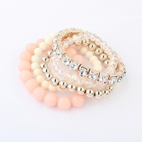 Min. order is $15(can mix)fashion bracelets&banges/sweet multi-layer beads color matching bracelet