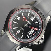 Free shipping Men's watches CURREN 8102 Precise Quartz Watch with Strip Figure Scale/Round Dial/Calendar Date/Waterproof-Black