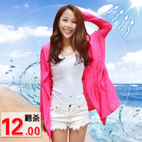 Anti-uv sun protection clothing female transparent long-sleeve cape plus size sun shirt air conditioning shirt