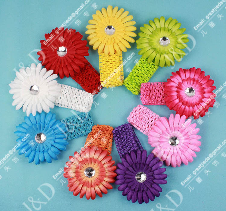 50 pcs/lot Hot Selling Cheap baby hair accessories with headband and tree peony flower children Headband Free Shipping(China (Mainland))