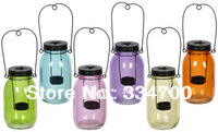 "6.7""H Mason jar colored glass lantern candle holder USD48.00 6pcs/lots   each USD8.00"