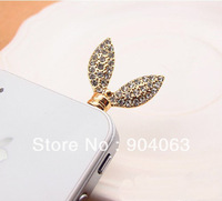 New phone dustproof plug wholesale high quality CRYSTAL Rabbit Ears dust plug fashion Uaniversal phone dust plug Free Shipping