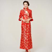 free ship Married cheongsam red the bride cheongsam evening dress long design long-sleeve fashion cheongsam evening dress