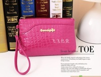 Free shipping!!! 2013 japanned leather women's glossy single zipper crocodile pattern stone pattern day clutch bag evening bag