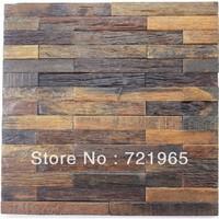 Natural wood mosaic tile rustic wood wall tiles NWMT010 kitchen backsplash wood panel interlocking wood pattern tiles mosaics