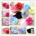 "Baby Headband 3"" big Shabby Frayed Chiffon Flower with 26mm pearl diamond headband 500pcs"