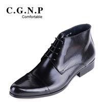 Autumn and winter connector fashion business formal high-top shoes the trend pointed toe genuine leather men's boots ankle boots