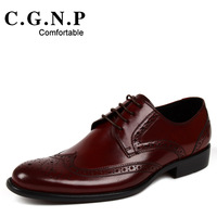 Vintage carved men's brockden shoes male fashion leather commercial genuine leather formal pointed toe shoes male breathable