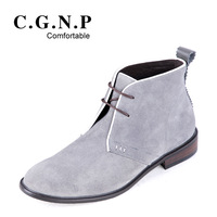 Fashion cowhide nubuck skateboarding shoes men's high-top shoes martin boots the trend of fashion male casual boots