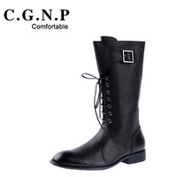 Vintage british style high quality soft cowhide casual high shoes gaotong martin boots
