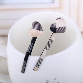 Free shipping wholesale 2013 british style cover heart design bobby hair pins plaid hair clips barrettes women girls hair grips