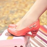 2012 wedges rhinestone bow single shoes candy color high-heeled shoes women's japanned leather shoes