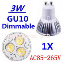 1pcs/lot GU10 3W High power led bulbs Warm White/Cold white AC85-265V Free shipping