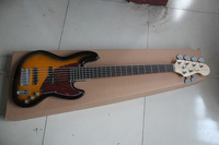 2013 New Arrival New Style High Quality Custom F Sunburst 6 String Jazz Bass Guitar !! Free Shipping
